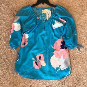 Yumi Kim Blue Floral Blouse Size Medium